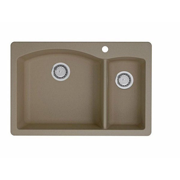 *NEW* Blanco Diamond Granite 33 Inch Double Basin Dual Mount Kitchen Sink in Truffle