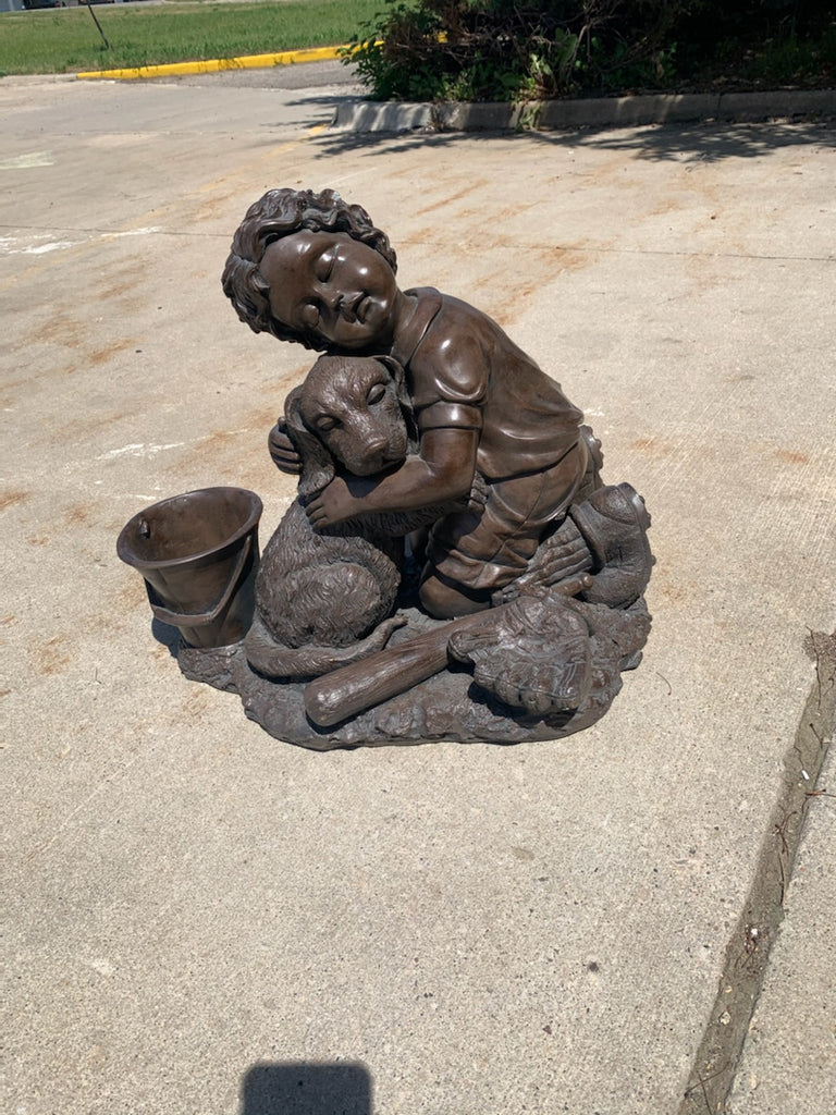 Garden Statue of a Boy and His Dog - Macomb County ReStores