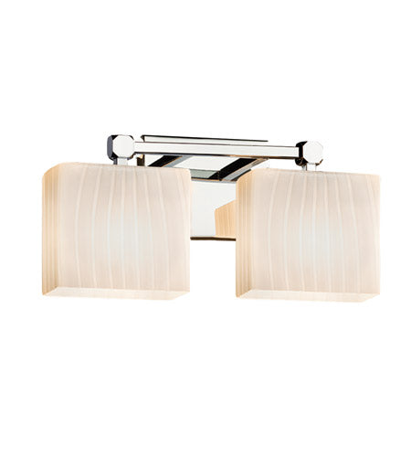 *NEW* Justice Design Fusion 2 Light Polished Chrome Vanity Light with Ribbon Rectangle Glass - Macomb County ReStores