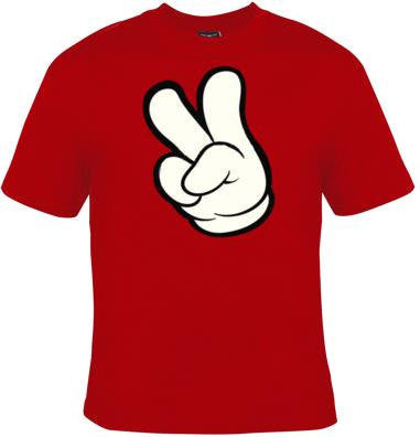 cartoons hands cartoon disney style hand peace fingers tee t shirts Cool Funny Humor TShirts Tees, Rude Tees Offensive T-Shirt design