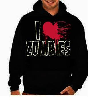 i love zombies:funny cool hoodies Funniest Humorous designs graphic hooded hoody sweater shirt
