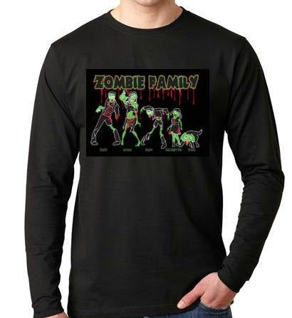 T-shirts: the zombies family Long sleeve shirt  Cool Funny long-sleeved T Shirt design sleeves