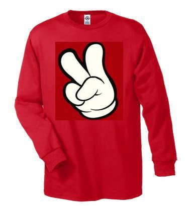 T-shirts: cartoons hands peace fingers Long sleeve shirt  Cool Funny long-sleeved T Shirt design sleeves
