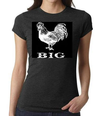 ladies women tops shirts big c@ck rooster chicken screen printed cool  animals t shirt