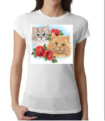 ladies women tops  shirts two cats with three roses screen printed cool  animals shirt cat