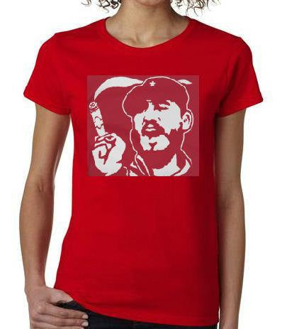 Fidel castro smoking cigar ladies women tops shirt  screen printed cool t shirt top cuba cuban president castro