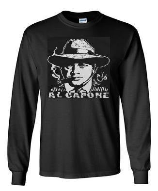long sleeve al capone  Tshirts  screen printed cool longsleeved shirt mafia The Italian god father shirt