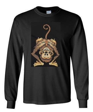 no problem monkey long sleeve Tshirts screen printed  longsleeved tee cool funny monk