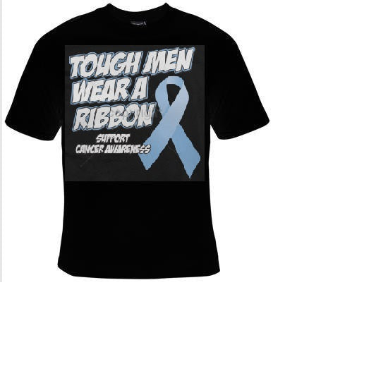 tough man wear a ribbon T-shirts tshirt breast cancer