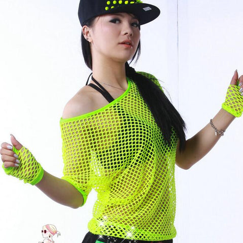 #3368 2016 Summer Neon t shirts Hip hop Women Mesh top Outwear Stage dancewear women Neon clothes Sexy Fashion Punk Harajuku