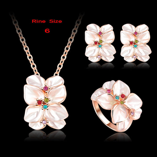 ANFASNI Jewelry Set Rose Gold Plate Austrian Crystal Enamel Earring/Necklace/Ring Flower Set Choose Size of Ring ST0002-A