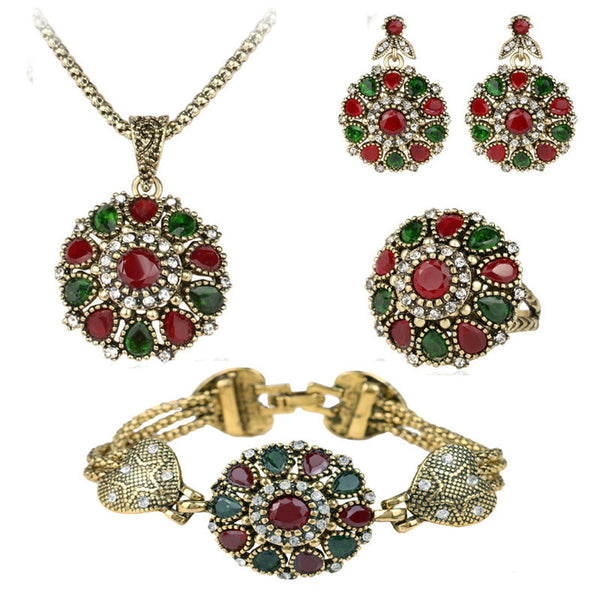 4Pcs Crystal Flower Necklace Sets Fashion Earing For Women 2016 Wedding Jewelry Turkish Combination Nigerian Red Bead Necklace
