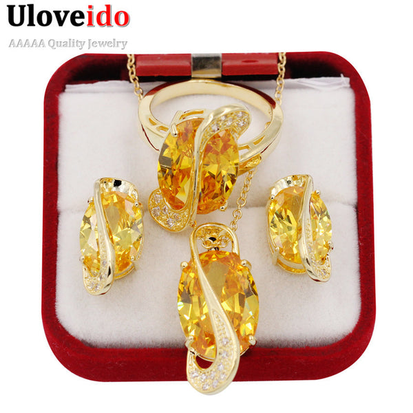 Uloveido Gold Plated Yellow Zircon Jewelry Set for Women Wedding Accessories Parure Bijoux Femme Necklace Earrings Sets Y183
