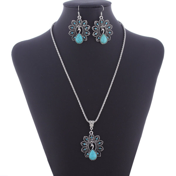 Free Shipping Jewelry Sets Bohemian Retro National Peacock Turquoise Pendant Necklace Earrings Suit Wholesale