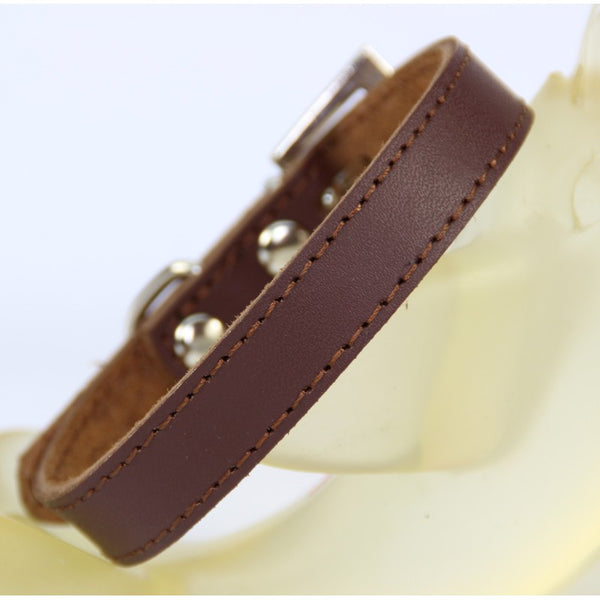 (1 Pieces/lot)Pure Leather Pet  Dog collar  Brown Black Puppy small Large Big dog collar Size XS S M L XL