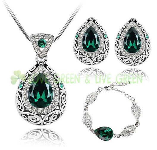 2015 fashion wedding bridal jewelry sets austrian crystal rhinestones queen water drop pendant necklace earrings set 84191