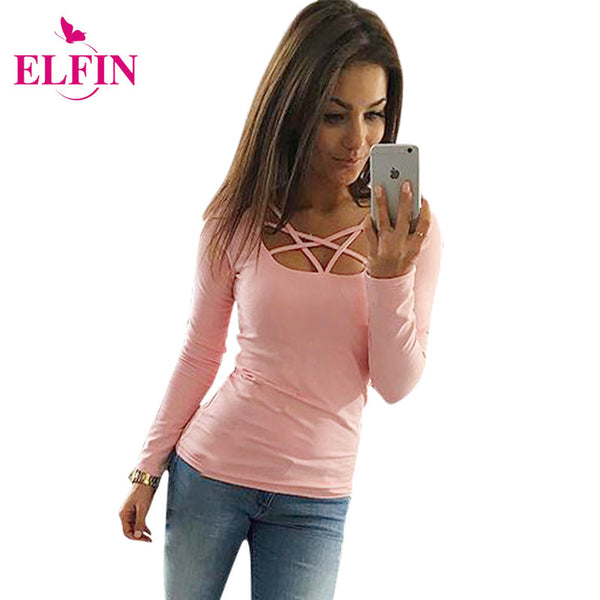 2016 Autumn T Shirt Women Long Sleeve Slim Fit Fashion Ladies Top Hollow Out Tops Tee Solid LJ4515R