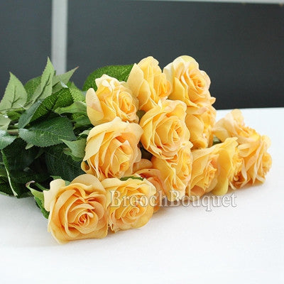 10pcs Rose Artificial Flowers Silk Flowers Floral Latex Real Touch Rose Wedding Bouquet Home decor Party Flowers bridesmaid