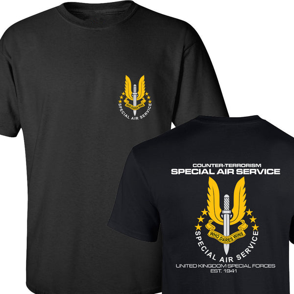 SAS SPECIAL AIR SERVICE BRITISH ARMY UNITED KINGDOM SPECIAL FORCE SNIPER MEN'S T SHIRT BOTH SIDES PRINTED COTTON BASIC TOP TEES