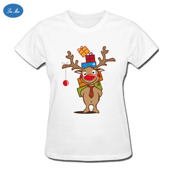Sea-mao 2016 Christmas Women T Shirt Deer With So Many Gift Lovely O-neck Tops Tees Casual Short Sleeve t-shirt for Women
