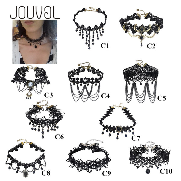 2016 Collares Sexy Gothic Chokers Crystal Black Lace Neck Choker Necklace Vintage Victorian Women Chocker Steampunk Jewelry