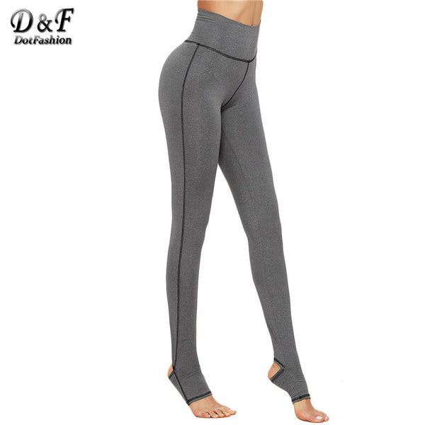 Dotfashion Warm Pants for Women Fashion Women's Casual Pants Grey Marled Knit Topstitch Stirrup Slim Leggings