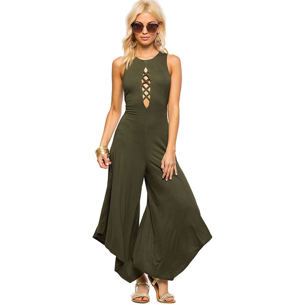 Smoves Sleeveless Backless Sexy Keyhole Cut Out Lace Up Women Wide Leg Jumpsuits Asymmetrical Playsuits Romper New Army Green