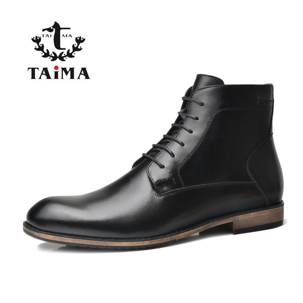 TAIMA Brand Fashion Men Boots Autumn and Winter Warm Short Plush Cowhide Leather Ankle Boots Business Casual Boots For Men Black