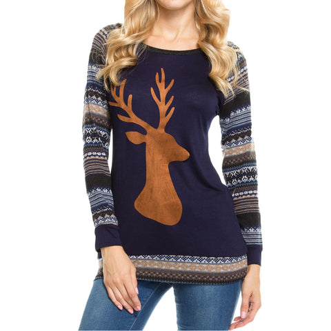 Long Sleeve Christmas Elk T Shirt Women Geometric Printed Splicing T-Shirt Women Tops Ropa Mujer Tee Shirt Femme Shirt 161109