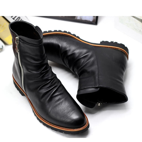 US Size 6-11 Black Leather Zip Pointy Toe Formal Dress Mens Military Snow Ankle Boots Winter Shoes