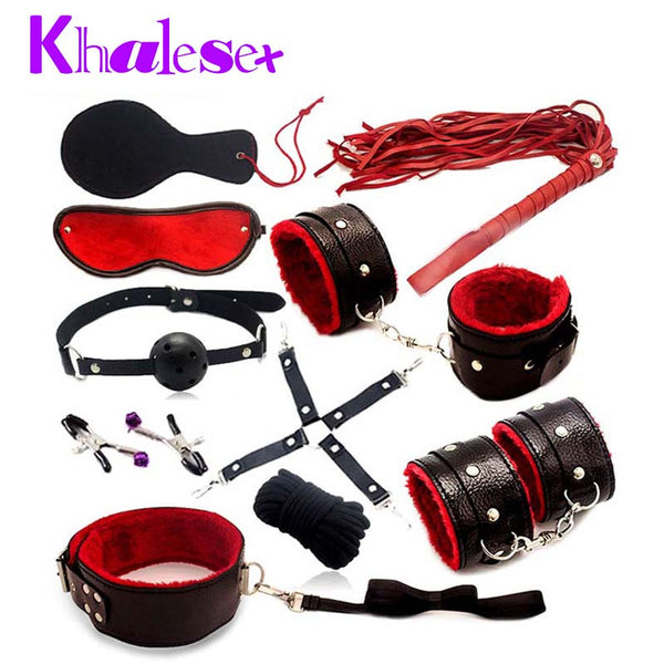 10 Pcs/set Leather Sex Bondage Fetish Kit Restraints Slave Sex Toys for Couple bdsm Bondage Handcuffs Fun Adult Games Sex Tools