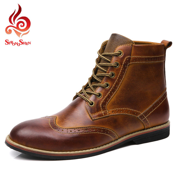 ADD Fleece Men's Martin Boots British Fashion Brogue Boots CN Size:38-45 Men Oxford Shoes 2016 Men Split Leather Ankle Boots