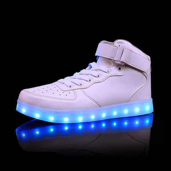 Plus Size 35-46 LED Light Shoes Men Women 7 Colors Glowing Fashion Led Shoes Flats High Top Adults Lumineuse Shoes Gold Silver
