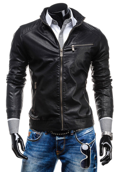 2015 Free shipping New Early Spring Men's Leisure zipper multi-pocket collar PU leather,Men's Fashion.