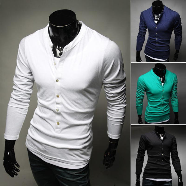2015 Hot Sale Men's Fashion T-Shirt Single-Breasted Cotton T-Shirt Free Shipping Long Sleeve Slim T-Shirt 4 Color