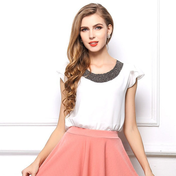 2015 New European Style Chiffon Women T-Shirt Butterfly Sleeve Free Shipping O-Neck Women T-shirt Solid T shirt S-XXL