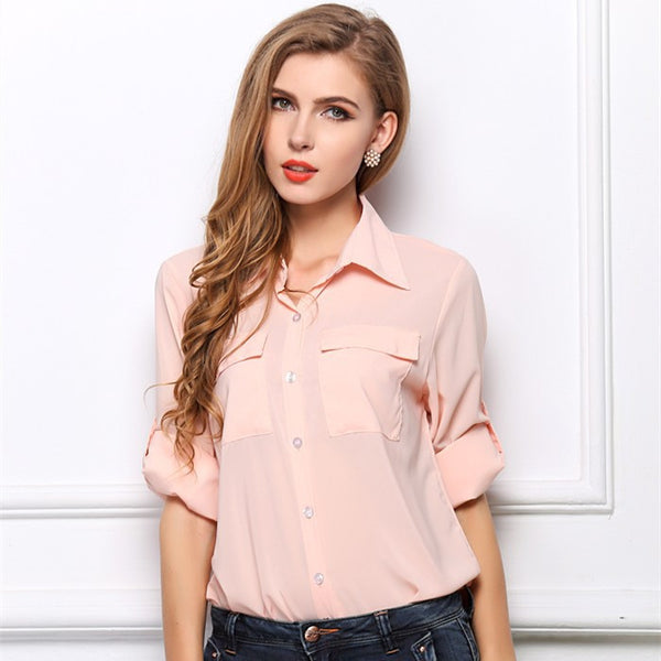 2015 New Women's Spring Fashion Turn-down Collar Chiffon Temperament Chiffon Pocket Female Shirt Solid Color 3 Colors