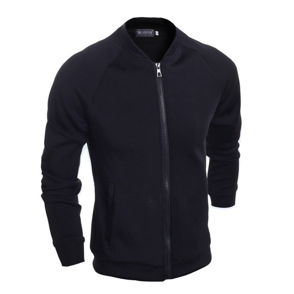 2015 Quality New Men's Autumn Fashion Zipper Casual Knit Coat Black Raglan Sleeve Stand-collar Solid Men Jacket Coat M-XXL