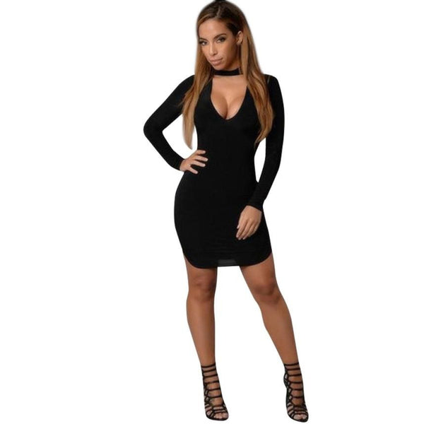 2016 Autumn Fashion Women Dress Cotton Solid V-neck Sexy Ladies Dresses Bodycon Long Sleeve Evening Party Short Mini Dress