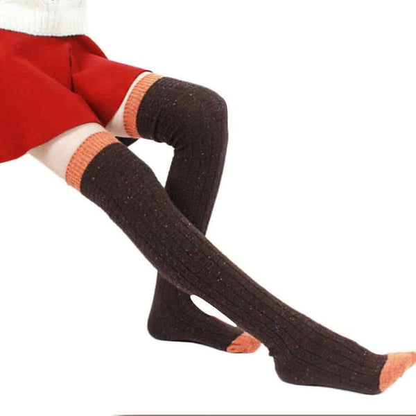 2016 New Girl Women Socks Cotton Thick Warm Winter Socks Long Solid Over Knee Leg Warmer Soft Cotton Socks Leggin