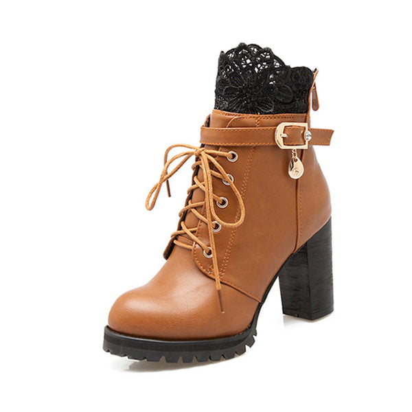 Ekoak Size 34-43 New 2016 Fashion Winter Plush Leather Boots Women Ankle Boots Casual Buckle Lace Up Zip High Heels Martin Boots