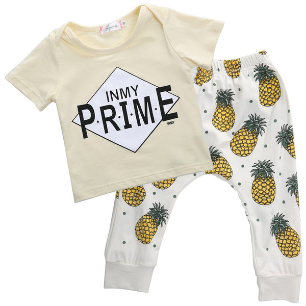 016 summer style infant clothes baby clothing sets boy Cotton Letter pineapple  short sleeve 2pcs baby boy clothes