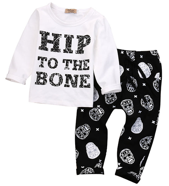 2016 Autumn Kid baby boy clothing set fashion cotton long-sleeved letter T-shirt+ Skull Pants 2pcs newborn baby boy clothes set