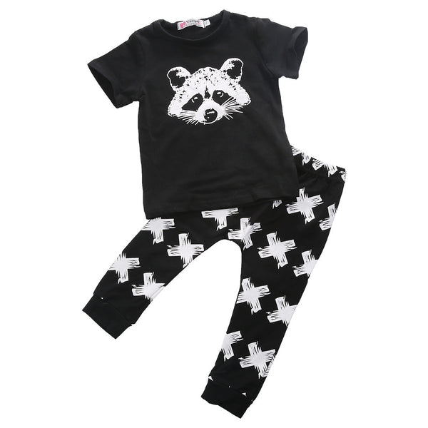 2016 New Autumn Summer Baby clothing Boys short Sleeve Gary Fox Girls Casual set Baby Clothing