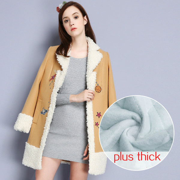 2016 Europe and America Women Fashion Embroidery Star Planet Cotton Jacket Lady Winter Warm Fleece Turn-down Collar Woolen Coat