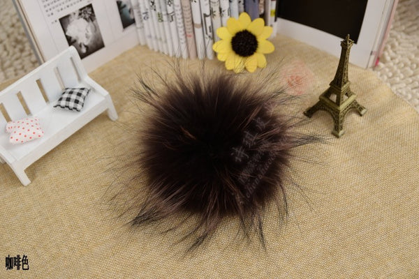 15pcs/lot wholesale price 100% Real Raccoon Fur Ball 16cm genuine fur pompom for women winter skullies beanies hat f300