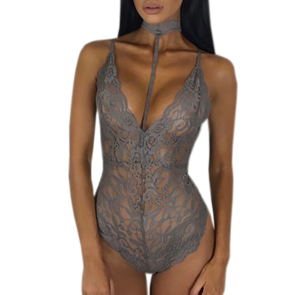 2017 Summer Sexy Lace Bodysuits Bodycon Rompers Womens Jumpsuit V Neck Halter Backless Black/Gray/Wine Red/Army Green Bodysuit