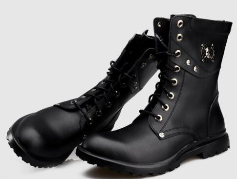 Autumn Fashion Men  Genuine leather Lace-Up Male Mid-Calf Motorcycle boots Army shoes Riding, Equestrian 1.4