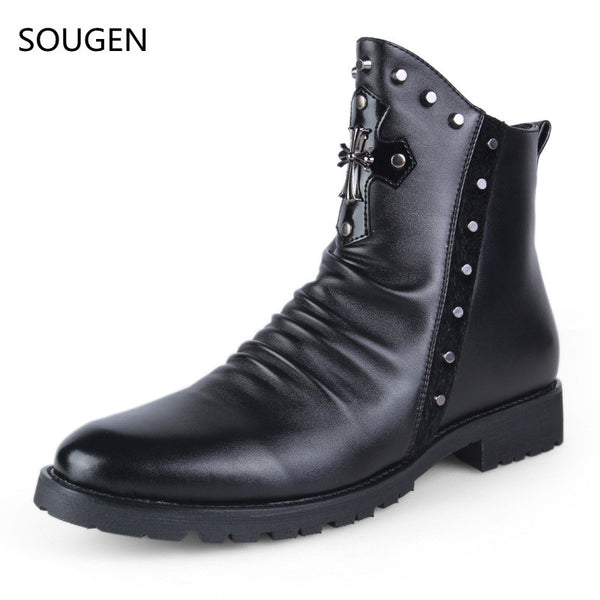 Sougen Men Boots Fur Winter Snow Chelsea Black Army Shoes Waterproof Casual Special Forces 2016 New Fashion Leather Timber