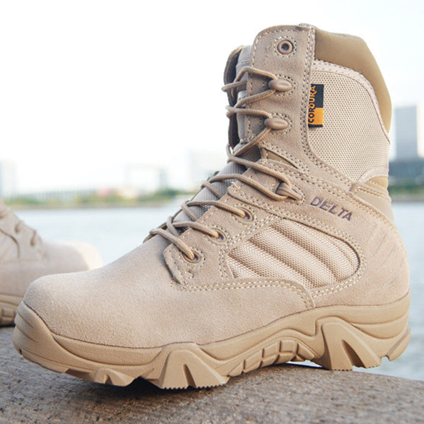 New Brand Fashion Military Tactical Boots Desert Combat Outdoor Army Travel Shoes Winter PU Leather Ankle Boots Black Sand Color